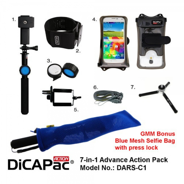 DiCAPac Action Pro Advance Pack DARS-C1 for Galaxy S5, iPhone 8 with Bonus Bag