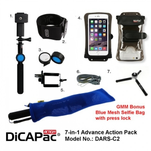 DiCAPac Action Pro Advance Pack DARS-C2 for Galaxy Note 5, iPhone 8+ with Bonus Bag
